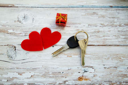 house keys with hearts. valentines day gift . High quality photo