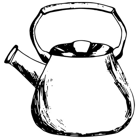 hand made illustration of a series of items, kettle Vector