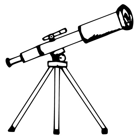 distant: hand made illustration of a series of objects, the telescope