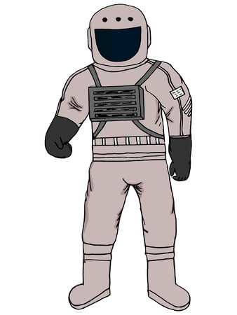 zero gravity: hand made illustration of a series of space, astronaut Illustration