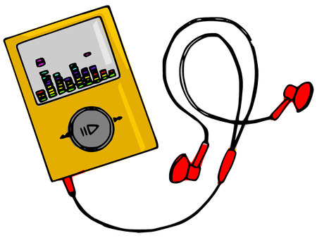 hand made illustration of a series of items, the player Vector