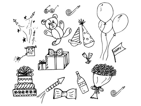 hand made illustration of a series of different, birthday Vector