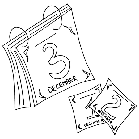 hand drawn illustration of a tear-off calendar  Vector