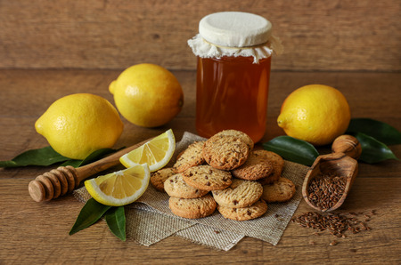 Natural buckwheat cookies with flax seeds, honey and lemon.