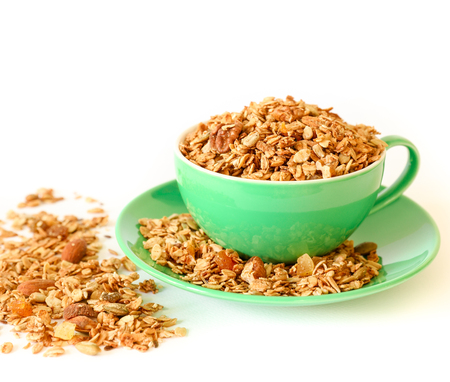The east granola isolated on white background. Stock Photo