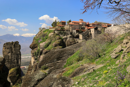 The Monastery of Great Meteoron is the largest monastery at Meteora. Meteora is one of the most precipitously built complexes of Eastern Orthodox monasteries in Greece. March 2017. Horizontal.