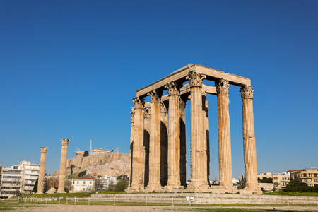 Temple of Olympian Zeus and Acropolis Hill, Athens, Greece. Stock Photo
