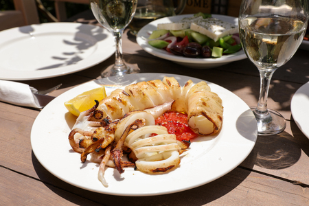 Grilled fresh squid dish.