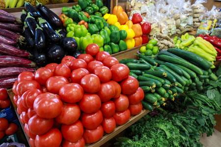 Variety of fresh vegetables in the greek grocery shop.