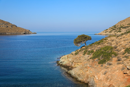 Beautiful landscape in Kolona beach Kythnos island Cyclades Greece.