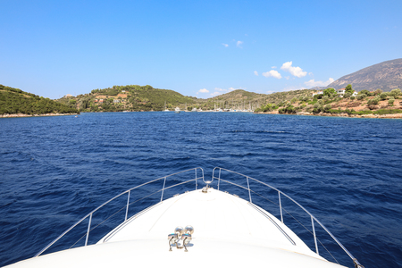Beautiful landscape near Trizonia island Ionian sea traveling on a yacht during summer holidays, 2018. Horizontal.