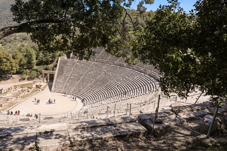 The ancient theater of Epidaurus or Epidavros, Argolis regional unit, Peloponnese, Greece.