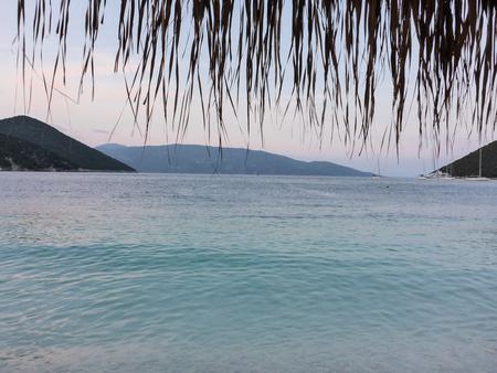 Summer evening beautiful seascape view from Antisamos beach of Kefalonia island, Ionian sea, Greece. Horizontal.