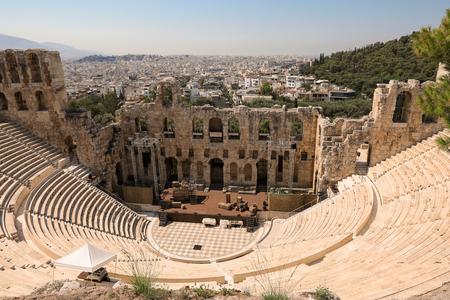 Das Theater des Herodion Atticus unter den Ruinen der Akropolis, Athen, Griechenland.