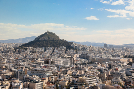 View from Acropolis Hill to Lycabettus Hill, Greek Parliament