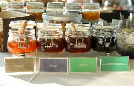 Four varieties of honey