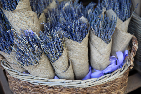 Basket of of dried lavender bouquets in the flowers bar. Stok Fotoğraf