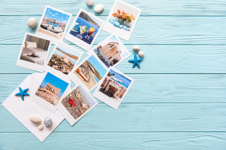 Photos of beautiful moments of happy summer holidays in Greece, copy space.