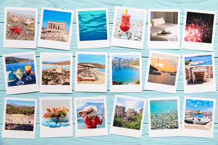 Photo collage of beautiful pictures from happy summer holidays in Greece.