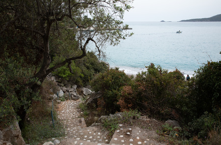 Stairs to the Agia Kyriaki beach in the Kiparissi Lakonia village, Peloponnese