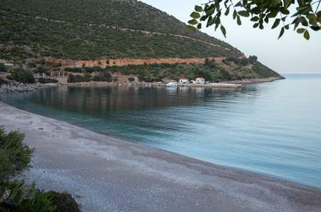 Amazing landscape of the Agia Kyriaki beach in the Kiparissi Lakonia village, Peloponnese, Zorakas Bay, Greece, evening - May 2019. Reklamní fotografie
