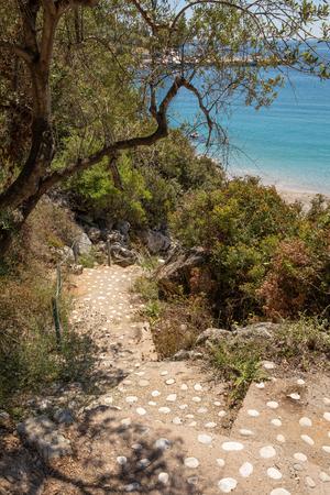 Stairs to the Agia Kyriaki beach in the Kiparissi Lakonia village