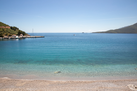 Amazing landscape of the Agia Kyriaki beach in the Kiparissi Lakonia village Reklamní fotografie
