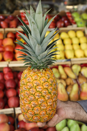 Ripe pineapple in the hand of the seller of the greek vegetable shop on the fruit shelves