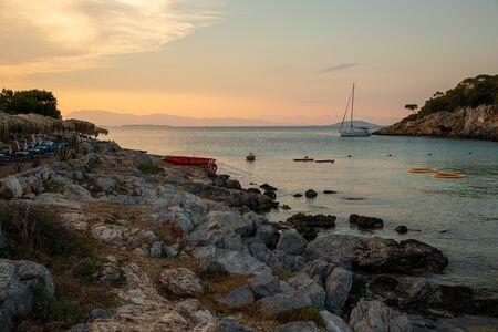 Summertime evening beautiful view from the beach of Aponissos, Agistri island, Saronic gulf, Greece. Reklamní fotografie