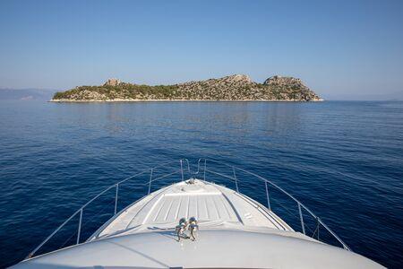 Summer morning beautiful seascape off the coast of Agistri island, Saronic Gulf, Greece.