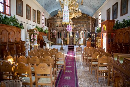 August 15th, 2018. Indoor of the church of the Monastery of Argilion, after celebration of Dormition Day of Virgin Mary, Sami Kefalonia island, Greece. Horizontal. Editorial