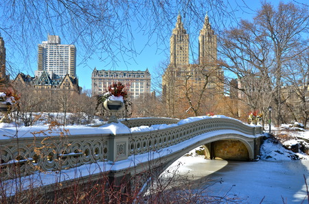 Central Park, New York City bow bridge in the winter, New York   photo
