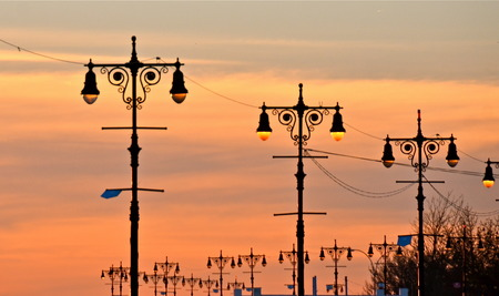 Street lamps of Brighton Beach and the Boardwalk in Coney Island, New York photo