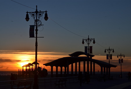 Sunset at Brighton Beach, New York City  USA photo