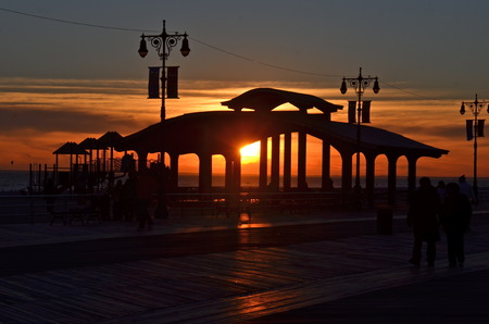 Sunset at Brighton Beach, New York City  USA photo