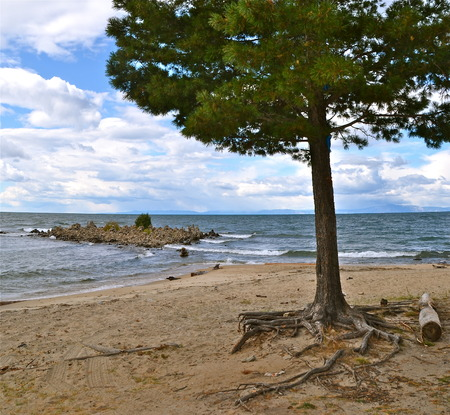 Coast of Lake Baikal  A natural background  Olkhon Island, Russia photo