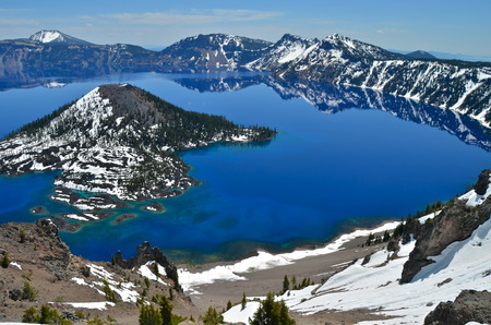 Gorgeous Crater lake on a spring day, Oregon, USA Stock Photo