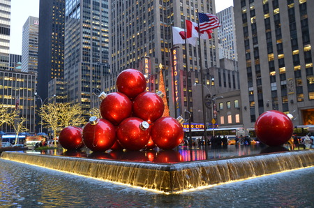 Giant Christmas Ornaments in Midtown Manhattan on December 17, 2013, New York City, USA