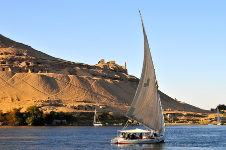 Sailboats sliding on Nile river, Egypt  Editorial