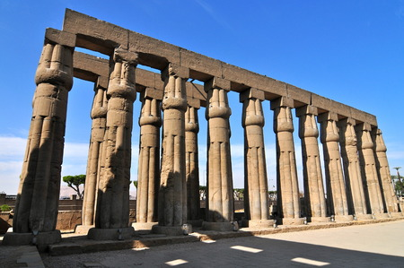 thebes: Hypostyle Hall inside the Karnak Temple, Egypt  Stock Photo