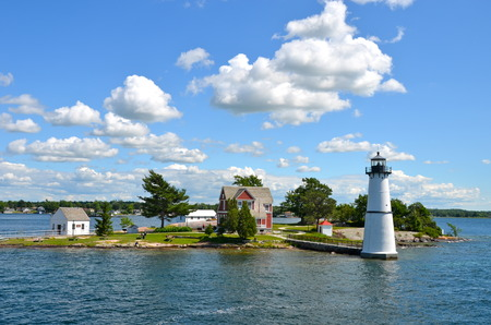 One Island in Thousand Islands Region in fall of New York State, USA 스톡 콘텐츠