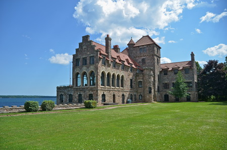 seaway:  Singer Castle located on Dark Island in the St  Lawrence Seaway on July 5,2014, New York State, USA