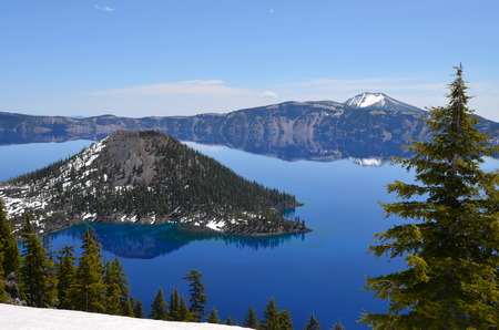 Gorgeous Crater lake on a spring day, Oregon, USA photo