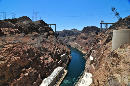 Hoover Dam in the Black Canyon of the Colorado River, between Arizona and Nevada, USA.