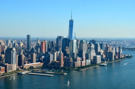 world trade center: View of Manhattan, New York City, USA Editorial