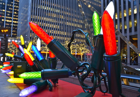 electric avenue: Giant Christmas Ornaments in Midtown Manhattan on December 2014, New York City, USA.