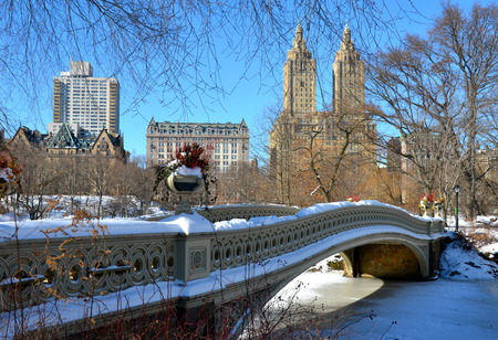 New York City bow bridge in the winter, Central Park, Manhattan, New York City, USA. Reklamní fotografie