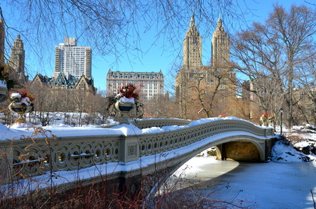city park skyline: New York City bow bridge in the winter, Central Park, Manhattan, New York City, USA. Stock Photo