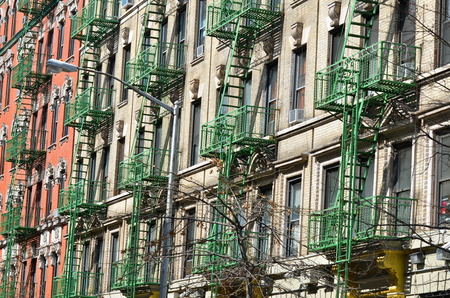 Old building with fire escape, New York City, USA
