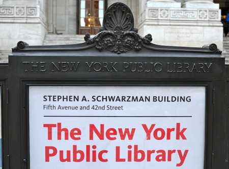 finders: Entrance to the New York City Library, NYC, USA